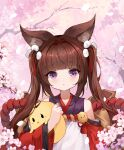 1girl absurdres amagi-chan_(azur_lane) animal_ears azur_lane bangs blunt_bangs brown_hair carrying character_doll cheren_(pokemon) commentary_request detached_sleeves eyebrows_visible_through_hair fox_ears fox_girl fox_tail hair_ribbon highres japanese_clothes kyuubi long_hair looking_at_viewer manjuu_(azur_lane) mianyang_buchiyang multiple_tails petals ribbon rope sidelocks solo stuffed_chicken tail thick_eyebrows tree_branch twintails violet_eyes