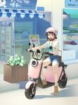 1girl 1other absurdres bare_legs bok_choy boots broccoli brown_footwear brown_hair chinese_commentary closed_mouth commentary_request convenience_store denim denim_shorts eating eggplant fanny_pack food fruit ground_vehicle helmet highres ice_cream lettuce midriff_peek motor_vehicle motorcycle_helmet onion original outdoors phina_(jinahou) planter popsicle riding_scooter road scooter shadow shirt shop short_hair shorts sign smile street t-shirt tomato vegetable watermelon white_shirt