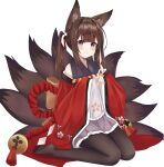 1girl absurdres amagi-chan_(azur_lane) animal_ears azur_lane bangs black_legwear blunt_bangs brown_hair commentary_request detached_sleeves eyebrows_visible_through_hair eyes_visible_through_hair fox_ears fox_girl fox_tail hair_ribbon head_tilt highres japanese_clothes kuyouml kyuubi long_hair looking_at_viewer manjuu_(azur_lane) multiple_tails no_shoes pantyhose ribbon rope sidelocks simple_background sitting smile solo tail thick_eyebrows twintails violet_eyes wariza white_background wide_sleeves
