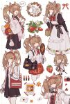 6+girls absurdres alternate_costume angelina_(arknights) animal_ear_fluff animal_ears apron arknights bag black_collar black_dress black_gloves black_shirt black_shorts bow bowtie brown_hair cameo candy chibi coat collar commentary_request cosmetics cowboy_shot doctor_(arknights) dress enmaided extra_ears food food_in_mouth fox_ears fruit gloves hair_between_eyes hairband handbag headphones highres holding holding_lipstick_tube holding_mirror implied_extra_ears japanese_clothes kimono lipstick lipstick_tube lollipop long_hair looking_at_viewer love_letter maid maid_apron makeup mido_(mido_chen) mirror multiple_girls multiple_persona open_clothes open_coat open_mouth partial_commentary photo_(object) pleated_skirt red_eyes red_hairband red_neckwear red_shirt rhodes_island_logo sample shirt shorts skirt speech_bubble strawberry translation_request twintails two-tone_gloves w watermark white_coat white_gloves white_kimono white_shirt