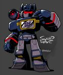 1980s_(style) 1boy buttons cassette_player chibi clenched_hand decepticon evil male_focus mecha open_hand rariatto_(ganguri) red_eyes retro_artstyle shading shading_mismatch shiny shoulder_cannon soundwave symbol transformers twitter_username visor weapon