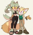 1boy 1girl akira_(milkchaotea) animal_ears animal_nose arms_behind_back black_legwear black_shirt black_sports_bra blonde_hair blush body_fur breasts collaboration colored_sclera commentary couple dark-skinned_female dark_skin english_commentary eye_contact full_body furry gloves green_fur green_hair green_sweater green_vest hair_intakes hand_on_another's_shoulder hand_on_another's_waist happy height_difference high_heels highres kaijumilk_(milkchaotea) leggings light_blush long_hair long_sleeves looking_at_another medium_breasts midriff navel no_socks open_mouth original pants ponytail red_eyes shirt shoes simple_background sleeveless smile sports_bra standing sweater sweater_vest symbol_commentary tail tail_wagging tall_female toeless_legwear vest violet_eyes white_shirt wolf_ears wolf_girl wolf_tail yellow_fur yellow_sclera