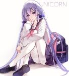 1girl azur_lane backpack backpack_removed bag bag_charm bangs cardigan character_name charm_(object) earrings eyebrows_visible_through_hair hair_ornament hair_scrunchie hand_on_leg highres jewelry long_hair open_mouth pantyhose pleated_skirt print_legwear purple_hair purple_skirt purrr sailor sailor_collar school_uniform scrunchie shoes simple_background sitting skirt thighband_pantyhose twintails unicorn unicorn_(amusement_park_date)_(azur_lane) unicorn_(azur_lane) violet_eyes white_background white_cardigan white_legwear