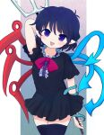 1girl arm_up asymmetrical_wings bangs black_dress black_hair black_legwear blue_wings blush bow bowtie buttons center_frills commentary cowboy_shot dress frilled_dress frills highres houjuu_nue looking_at_viewer open_mouth pitchfork pointy_ears polearm red_bow red_neckwear red_wings rei_(tonbo0430) short_dress short_hair short_sleeves smile snake solo thigh-highs touhou violet_eyes weapon wings zettai_ryouiki