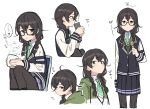 1girl black_hair black_legwear blazer blue_jacket blue_skirt braid bubble bug butterfly chair chasen commentary cropped_torso cup drinking expressionless from_side glasses green_eyes green_jacket green_neckwear green_sweater hanakuma_chifuyu highres holding holding_cup insect jacket light_blush looking_at_viewer medium_hair miniskirt multiple_views no_eyewear pantyhose pleated_skirt school_uniform semi-rimless_eyewear side_braids sitting skirt speech_bubble squinting steam sweater synthesizer_v teacup teshima_nari translated twin_braids white_background yunomi