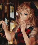 1girl bangs black_bow blonde_hair blurry blurry_background bow braid breasts chess_piece commentary_request danganronpa_(series) danganronpa_2:_goodbye_despair dated dress expressionless finger_to_own_chin hair_bow hand_up hands_up highres large_bow long_hair lukai:frantia medium_breasts painting_(object) ponytail puffy_short_sleeves puffy_sleeves red_bow ribbon shirt short_sleeves signature sonia_nevermind thinking upper_body