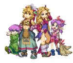 2boys 2girls abs absurdres blonde_hair broom character_request full_body green_robe hands_on_hips headdress height_difference highres legend_of_mana leotard midriff multiple_boys multiple_girls pointy_footwear purple_hair purple_leotard seiken_densetsu simple_background tenjin white_background