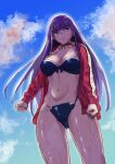 1girl absurdres aoba_(smartbeat) bangs beach bikini black_bikini blue_eyes blue_sky breasts cross_choker earrings eyebrows_visible_through_hair fate/grand_order fate_(series) frilled_bikini frills highres jacket jewelry large_breasts long_hair looking_at_viewer martha_(fate) martha_(swimsuit_ruler)_(fate) navel open_clothes open_jacket purple_hair red_jacket sky solo swimsuit