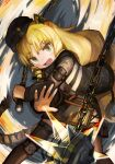 1girl animal_ears arknights beret black_headwear black_jacket black_legwear black_skirt blonde_hair boots buchi0122 commentary drill_hair earpiece fang feet_out_of_frame flail green_eyes hat highres holding holding_weapon jacket jewelry knee_boots long_hair looking_at_viewer open_clothes open_jacket open_mouth pinky_ring ring skirt solo swire_(arknights) tail thigh-highs thigh_pouch tiger_ears tiger_girl tiger_tail very_long_hair weapon