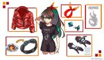anonymous_(nijisanji) belt black_shirt blue_eyes brown_hair character_sheet colored_inner_hair earrings english_commentary etna_crimson gloves graphic_shirt hair_ribbon highres jacket jewelry leather leather_jacket long_hair looking_at_viewer multicolored_hair nijisanji nijisanji_id official_art ponytail red_jacket red_ribbon ribbon shirt streaked_hair t-shirt tied_hair virtual_youtuber white_background