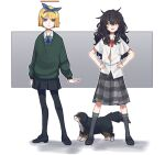 2girls :d absurdres alternate_hairstyle arms_at_sides bangs black_footwear black_legwear black_skirt blind_girl_(popopoka) blonde_hair blue_bow blue_eyes blue_hairband bob_cut bow bowtie bully_girl_(popopoka) commentary crossed_bangs dog english_commentary facing_viewer freckles green_sweater grey_legwear grey_skirt hair_between_eyes hair_bow hairband hairstyle_switch hands_on_hips highres miniskirt multiple_girls open_mouth original pantyhose parted_lips pleated_skirt popopoka puppy red_bow red_neckwear shirt shoes short_hair skirt smile socks standing sweater white_shirt