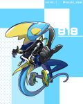 artist_name clothed_pokemon commentary_request enishi_(menkura-rin10) full_body gen_8_pokemon highres inteleon jacket legs_up number open_clothes open_jacket open_mouth outstretched_arms pointing pokedex_number pokemon pokemon_(creature) shoes smile solo twitter_username yellow_eyes