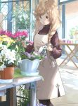 1girl beige_dress black_legwear braid brown_eyes brown_sweater commission dress flower gradient_hair jewelry kantai_collection light_brown_hair long_hair long_sleeves matsutani minegumo_(kancolle) multicolored_hair official_alternate_costume outdoors pinafore_dress plant potted_plant ring solo standing sweater table twin_braids watering_can wedding_band