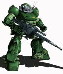 clenched_hand gun holding holding_gun holding_weapon looking_at_viewer mecha mick_(m.ishizuka) no_humans radio_antenna science_fiction scopedog solo soukou_kihei_votoms standing weapon white_background