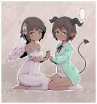 ... 2girls absurdres angel angel_and_devil aqua_cardigan bangs bare_shoulders barefoot black_horns black_neckwear black_ribbon blunt_bangs blush bob_cut border breasts brown_background brown_eyes brown_hair buttons cardigan closed_mouth collarbone collared_shirt commentary dark-skinned_female dark_skin demon_girl demon_tail dress ear_blush eyebrows_visible_through_hair feathered_wings floral_background frilled_dress frilled_sleeves frills from_side full_body green_eyes hair_intakes hair_ribbon hands_up happy highres holding_hands horns interlocked_fingers kneeling long_sleeves looking_away looking_to_the_side miniskirt multiple_girls neck_ribbon nervous nose_blush off-shoulder_dress off_shoulder open_cardigan open_clothes original outline pencil_skirt pointy_ears ribbon rune_(pixiv_25170019) seiza shiny shiny_hair shirt short_hair short_sleeves sidelocks simple_background sitting skirt small_breasts smile socks spaghetti_strap sparkle speech_bubble spoken_ellipsis sweat symmetry tail trembling wavy_mouth white_border white_dress white_legwear white_outline white_ribbon white_shirt white_skirt white_wings wings yuri