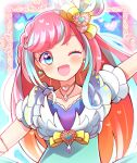 1girl ;d absurdres aqua_dress arm_up blue_eyes blue_hair blush bow braid choker close-up commentary_request dress dress_bow earrings eyebrows_visible_through_hair face framed gem gradient_dress green.star hair_bow hair_ornament happy heart heart_bow heart_choker heart_earrings heart_hair_ornament hibino_matsuri highres idol jewelry long_hair looking_at_viewer multicolored multicolored_clothes multicolored_dress multicolored_hair necklace one_eye_closed open_mouth out_of_frame outline outstretched_arms pink_hair polka_dot polka_dot_dress pretty_(series) short_sleeves side_braid smile solo spread_arms streaked_hair upper_body waccha_primagi! white_outline wing_hair_ornament yellow_bow