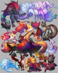 :d alolan_form alolan_ninetales alternate_color braixen claws closed_mouth delphox fangs fennekin fire furry gen_1_pokemon gen_5_pokemon gen_6_pokemon gen_7_pokemon gen_8_pokemon green_eyes grey_background highres holding holding_stick looking_back lying nickit ninetales on_stomach open_mouth paws pokemon pokemon_(creature) qqqb red_eyes shiny_pokemon simple_background smile stick thievul toes tongue zoroark zorua
