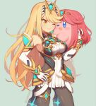 1girl bangs bare_shoulders black_legwear blonde_hair blue_eyes blush_stickers breasts chest_jewel copy_ability cosplay dress earrings elbow_gloves gloves hat headpiece jewelry kirby kirby_(series) large_breasts long_hair mythra_(massive_melee)_(xenoblade) mythra_(xenoblade) open_mouth pantyhose pyra_(xenoblade)_(cosplay) redhead short_hair simple_background smile super_smash_bros. swept_bangs tiara very_long_hair white_dress white_gloves wusagi2 xenoblade_chronicles_(series) xenoblade_chronicles_2 yellow_eyes
