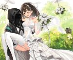 1girl 1other ^_^ ^o^ absurdres arknights black_coat blush breasts bridal_veil brown_hair bush carrying closed_eyes coat covered_navel day doctor_(arknights) dress drone earrings elbow_gloves eyebrows_visible_through_hair feet_out_of_frame flower frilled_dress frills garter_straps glint gloves hair_ornament high_heels highres holding holding_flower hood hood_up hooded_coat jewelry long_dress magallan_(arknights) medium_breasts multicolored_hair open_mouth outdoors panties pantyshot princess_carry robot rose see-through short_hair sigm@ silver_hair single_earring sleeveless sleeveless_dress smile snowflake_hair_ornament streaked_hair thigh-highs thighs two-tone_hair underwear veil wedding_dress white_flower white_footwear white_gloves white_legwear white_panties white_rose