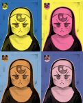 1girl :< andy_warhol closed_mouth diva_(hyxpk) habit limited_palette little_nun_(diva) looking_at_viewer multiple_views nun parody pop_art style_parody upper_body v-shaped_eyebrows veil