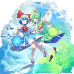 2girls 38_(sanjuuhachi) ascot bangs black_footwear blue_eyes blue_hair blue_shirt blue_skirt blue_sky bob_cut bobby_socks border bow bowtie cirno closed_mouth clouds cloudy_sky collared_shirt commentary daiyousei day fairy fairy_wings floating frilled_legwear green_eyes green_hair green_shirt green_skirt hair_bow hair_ribbon head_tilt highres holding_hands ice ice_wings interlocked_fingers kneehighs loafers looking_at_viewer medium_skirt multiple_girls one_side_up outdoors puffy_short_sleeves puffy_sleeves red_border red_neckwear ribbon shirt shoes short_hair short_sleeves single_horizontal_stripe skirt skirt_set sky smile socks touhou white_legwear wind wings yellow_neckwear yellow_ribbon