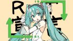 1girl aqua_eyes aqua_hair aqua_nails aqua_neckwear arrow_(symbol) bare_shoulders blush_stickers chestnut_mouth commentary daidou_(demitasse) detached_sleeves from_side goodbye_sengen_(vocaloid) hair_ornament hatsune_miku hatsune_miku_(nt) headphones index_finger_raised layered_sleeves long_hair looking_at_viewer looking_to_the_side nail_polish neck_ribbon open_mouth parody piapro ribbon see-through_sleeves shirt shoulder_tattoo sketch sleeveless sleeveless_shirt solo tattoo twintails upper_body very_long_hair vocaloid white_shirt white_sleeves yellow_background