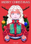 1girl antlers bangs blue_eyes box christmas_ornaments christmas_wreath gift gift_box halftone halftone_background highres holding holding_gift long_hair looking_at_viewer merry_christmas original pinecone shadow signature smile solo tree_13 watermark white_hair wreath