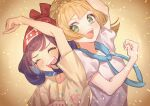 2girls :d absurdres arm_up bangs beanie blonde_hair blue_sailor_collar blush clenched_hand closed_eyes commentary_request eyelashes floating_hair floral_print gotcha! hat highres lillie_(pokemon) long_hair multiple_girls open_mouth pokemon pokemon_(game) pokemon_sm red_headwear sailor_collar selene_(pokemon) shirt short_sleeves smile t-shirt tongue upper_body upper_teeth white_shirt yellow_shirt yoshiyoshiwa |d