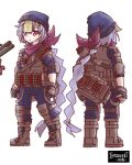 1girl absurdly_long_hair bag bangs black_gloves black_jumpsuit boots braid bulletproof_vest character_sheet coin_hair_ornament combat_boots commentary english_commentary eyebrows_visible_through_hair fingerless_gloves from_behind full_body genshin_impact gloves gun hair_ribbon hat highres introvert-kun jiangshi long_hair looking_at_viewer low_ponytail ofuda purple_hair purple_scarf qiqi_(genshin_impact) ribbon scarf shotgun shotgun_shells sidelocks simple_background single_braid solo tactical_clothes very_long_hair violet_eyes weapon white_background