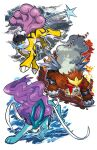 brown_eyes closed_mouth electricity entei fangs fire gen_2_pokemon jumping kokesa_kerokero legendary_pokemon no_humans paws pokemon pokemon_(creature) raikou red_eyes standing suicune symbol_commentary toes water white_background