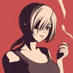 1girl between_fingers black_eyes black_tank_top breasts chainsaw_man cigarette closed_mouth commentary expressionless eyepatch hair_between_eyes high_contrast holding holding_cigarette looking_at_viewer medium_breasts medium_hair moshimoshibe one_eye_covered parted_lips ponytail portrait quanxi_(chainsaw_man) red_background simple_background sleeveless smoke solo tank_top white_hair