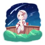 1girl :o bangs bow bush chihong_de_tianshi commentary_request copyright_request eyebrows_visible_through_hair falling_star fence hair_bow hand_up highres japanese_clothes kimono long_sleeves looking_away miko night night_sky outdoors parted_lips red_bow red_eyes ribbon-trimmed_sleeves ribbon_trim short_sleeves sky sleeves_past_wrists solo star_(sky) starry_sky upper_body virtual_youtuber white_hair white_kimono wide_sleeves wooden_fence