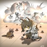 animal animal_ear_fluff animal_ears arknights artist_name black_footwear black_pants black_table brown_hair chibi commentary ear_piercing english_commentary explosion explosive gameplay_mechanics highres long_hair mine_(weapon) pants paws piercing ponytail raccoon raccoon_ears raccoon_girl raccoon_tail robin_(arknights) shirt smoke squatting tail thai_text white_shirt yellow_eyes
