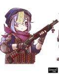 1girl alternate_costume arm_guards bangs black_gloves black_jumpsuit braid bulletproof_vest coin_hair_ornament commentary english_commentary eyebrows_visible_through_hair fingerless_gloves genshin_impact gloves gun hair_over_one_eye hat highres holding holding_gun holding_weapon introvert-kun jiangshi long_hair looking_at_viewer low_ponytail ofuda purple_hair purple_scarf qiqi_(genshin_impact) scarf shotgun shotgun_shells sidelocks simple_background single_braid solo tactical_clothes trigger_discipline violet_eyes weapon white_background