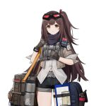 1girl bag brown_hair case clipboard clothing_cutout duffel_bag girls'_frontline_2:_exilium gloves goggles goggles_on_head jacket long_hair mayling_shen_(girls'_frontline_2) navel_cutout official_art shirt shorts solo thermos yellow_eyes