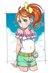 1girl belt blue_background border bow breasts bright_pupils closed_mouth covered_navel cowboy_shot cropped_legs dekosukentr green_eyes green_shorts hair_bow highres natsuumi_manatsu off-shoulder_shirt off_shoulder orange_belt orange_hair outside_border precure shirt shorts side_ponytail small_breasts solo tropical-rouge!_precure white_border white_pupils white_shirt yellow_bow