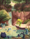afloat black_eyes bush closed_eyes commentary day english_commentary evolutionary_line gen_1_pokemon gen_2_pokemon happy highres karlen_tam leaf leg_up moss no_humans open_mouth outdoors pokemon pokemon_(creature) politoed poliwag poliwhirl poliwrath pool rock sitting smile standing standing_on_one_leg swimming tongue tree water waterfall |d