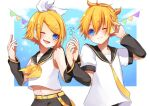 1boy 1girl :3 arm_warmers bangs bare_shoulders belt black_collar black_shorts blonde_hair blue_eyes bow collar commentary contrapposto crop_top hair_bow hair_ornament hairclip headphones holding_hands kagamine_len kagamine_rin light_blush looking_at_viewer neckerchief necktie open_mouth sailor_collar school_uniform shirt short_hair short_ponytail short_sleeves shorts side-by-side signature sky sleeveless sleeveless_shirt smile sparkle spiky_hair string_of_flags swept_bangs upper_body vocaloid white_bow white_shirt yasuko_ame yellow_neckwear