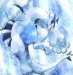 black_eyes commentary_request dated fang gen_2_pokemon highres katkichi legendary_pokemon looking_down lugia no_humans open_mouth pokemon pokemon_(creature) signature skin_fang solo toes tongue