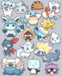 >_< 2027_(submarine2027) :3 :d :q ;3 ^_^ alolan_form alolan_vulpix arctozolt arms_up aurorus bergmite black_eyes blue_eyes blush bow closed_eyes closed_mouth colored_sclera commentary_request cubchoo eiscue eiscue_(ice) fangs froslass full_body gen_1_pokemon gen_2_pokemon gen_3_pokemon gen_4_pokemon gen_5_pokemon gen_6_pokemon gen_7_pokemon gen_8_pokemon glaceon grey_background grin hand_up highres looking_at_viewer no_humans one_eye_closed open_mouth pokemon pokemon_(creature) red_bow red_eyes sealeo shellder smile sneasel snorunt snot standing sweat swinub teeth tongue tongue_out vanillite walrein xd yellow_sclera
