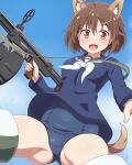 1girl animal_ears blouse blue_blouse brave_witches brown_eyes brown_hair gun hair_ornament hairclip highres holding holding_gun holding_weapon karibuchi_hikari looking_at_viewer old_school_swimsuit open_mouth school_swimsuit shiny shiny_hair shiny_skin short_hair smile solo spread_legs squirrel_ears squirrel_tail striker_unit swimsuit swimsuit_under_clothes tail thighs weapon world_witches_series yosuzu