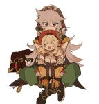 1boy 1girl ahoge antenna_hair backpack backpack_removed bag bangs black_footwear blonde_hair blush boots brown_footwear brown_gloves dodoco_(genshin_impact) dress eyebrows_visible_through_hair genshin_impact gloves green_pants grey_hair hair_between_eyes hat hood hood_up iwashi_(iwashi008) klee_(genshin_impact) long_hair low_twintails on_lap open_mouth orange_gloves pants pointy_ears razor_(genshin_impact) red_dress red_eyes red_headwear scar scar_on_face simple_background sitting twintails white_background