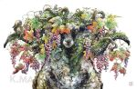 animal animal_focus branch commentary_request food fruit grapes highres horizontal_pupils horns keso901005 leaf no_humans one_eye_covered original plant sheep sheep_horns simple_background squirrel white_background