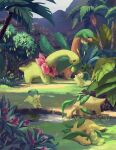 banana bayleef chikorita closed_eyes closed_mouth commentary day drinking english_commentary evolutionary_line eye_contact food fruit gen_2_pokemon gen_3_pokemon grass karlen_tam looking_at_another lying meganium mouth_hold no_humans on_stomach open_mouth outdoors pokemon pokemon_(creature) pond red_eyes sleeping smile standing starter_pokemon tree tropius water