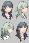 1girl bangs blue_eyes blue_hair blush byleth_(fire_emblem) byleth_(fire_emblem)_(female) closed_mouth cropped_shoulders eyebrows_visible_through_hair fire_emblem fire_emblem:_three_houses green_eyes green_hair grey_background highres ikarin medium_hair multiple_views parted_lips simple_background
