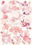 :d ampharos buneary candy cherry closed_mouth crobat flower food frillish fruit furret gem gen_2_pokemon gen_4_pokemon gen_5_pokemon gen_7_pokemon highres ice_cream jumpluff looking_up mareanie mushroom no_humans oharu-chan open_mouth pachirisu pokemon pokemon_(creature) ribombee smile sparkle strawberry teeth traditional_media watercolor_(medium) wooper