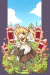 1girl apron bangs blonde_hair blue_sky brown_dress brown_legwear bug bush caramel_(ragnarok_online) clouds commentary_request curly_sue dress flora_(ragnarok_online) frilled_apron frills full_body gloves green_eyes hedgehog holding holding_leaf holding_paper insect kafra_uniform ladybug leaf looking_at_viewer maid maid_headdress medium_hair mushroom one_eye_closed open_mouth paper plant puffy_short_sleeves puffy_sleeves ragnarok_online short_sleeves sky smile stainer taruk teeth two_side_up white_apron white_gloves