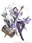 1boy formal full_body glasses gloves gradient_hair hair_slicked_back hameln_(sinoalice) hammer high_collar highres instrument ji_no long_coat looking_at_viewer multicolored_hair official_art piano piano_keys purple_hair red_eyes sinoalice solo square_enix suit white_background white_gloves