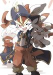 ;d bandana blush bright_pupils cinderace clothed_pokemon coat commentary_request fang gen_8_pokemon grey_coat grey_headwear hat hatted_pokemon highres navel one_eye_closed open_clothes open_coat open_mouth outstretched_arm poke_ball_print pokemon pokemon_(creature) pokemon_on_arm pokemon_unite raboot red_eyes scorbunny smile standing tongue tsukiya_(rajx3523) white_pupils