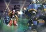 3boys absurdres android arm_cannon arm_support armor battle blonde_hair blue_eyes blue_headwear building cable closed_mouth clouds cloudy_sky commentary_request crack energy english_commentary firing helmet highres hoshi_mikan long_hair male_focus mega_man_(series) mega_man_x1 mega_man_x_(character) mega_man_x_(series) mixed-language_commentary multiple_boys night one_knee outdoors ponytail purple_headwear red_headwear ride_armor searchlight serious sky skyscraper sparks standing very_long_hair vile_(mega_man) weapon zero_(mega_man)
